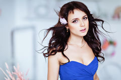Portrait of a gentle sensual beautiful young girl brunette in bl Royalty Free Stock Photography