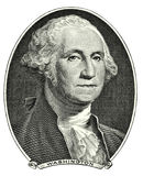 Portrait of George Washington. Portrait of first U.S. president George Washington as he looks on one dollar bill obverse. Clipping path included Royalty Free Stock Photos