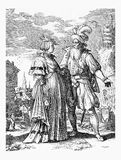 Portrait of German couple fashionable dressed, late XVII century Royalty Free Stock Photography