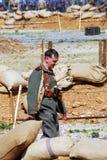 Portrait of a German soldier-reenactor. Stock Images