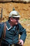 Portrait of a German soldier-reenactor. Royalty Free Stock Photo