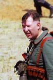 Portrait of a German soldier-reenactor Stock Image