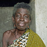Portrait Ghanaian senior woman, traditional dress Royalty Free Stock Photos