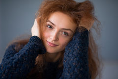 Portrait ginger hair girl Cosy Royalty Free Stock Image