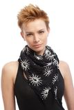 Portrait of gingerish woman with trendy hairstyle. Portrait of gingerish young woman with trendy hairstyle Stock Photos
