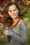 Portrait of girl. On a background autumn leaves Royalty Free Stock Photo