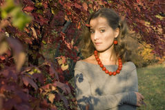 Portrait of girl. On a background autumn leaves Royalty Free Stock Image