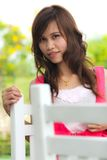 A portrait girl. A portrait of student girl on summer day Royalty Free Stock Image