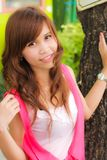 A portrait girl. A portrait of student girl on summer day stock image