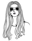 Portrait of a girl. Wearing sunglasses in black and white Stock Photos
