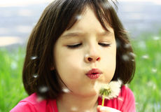 Portrait of girl. With dandelion Royalty Free Stock Images