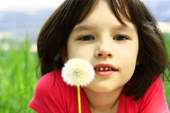 Portrait of girl. With dandelion Royalty Free Stock Photos