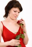 Portrait of a girl. The Portrait of the girl with a rose in hands stock photo