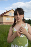 The portrait of girl. About  new house Royalty Free Stock Photo