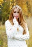 Portrait of the girl against an autumn Stock Photos