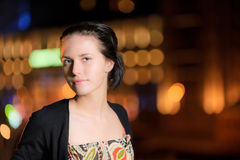 Portrait of girl against night city Royalty Free Stock Images