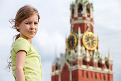 Portrait of girl against Spassky tower Stock Image