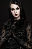 Portrait of girl-alien with black eyes Stock Photos