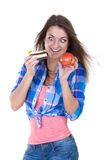 Portrait of a girl with an apple and a cake Royalty Free Stock Photo