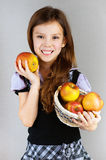 Portrait of girl with apples Royalty Free Stock Photo