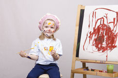 Portrait of a girl artist at the easel Royalty Free Stock Image