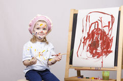 Portrait of a girl artist at the easel Stock Photo