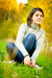Portrait of girl in autumn Stock Photos