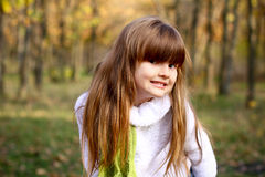 Portrait of girl in the autumn forest Royalty Free Stock Image