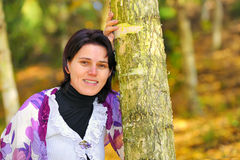 Portrait girl in an autumn park Royalty Free Stock Images