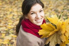 Portrait of the girl in autumn Royalty Free Stock Image