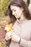 Portrait of the girl in autumn Stock Image