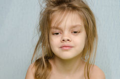 Portrait of girl awakened early in the morning Royalty Free Stock Image