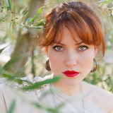 Portrait of a girl on the background of the olive tree Royalty Free Stock Photography