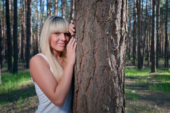 Portrait of a girl on a background of pine trunk Stock Images