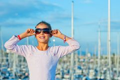 Portrait of a girl in the background of yachts Royalty Free Stock Photography