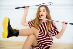 Girl with a badminton racket. A portrait of a girl with a badminton racket Royalty Free Stock Photos