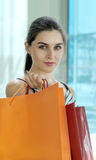 Portrait of the girl with bag Royalty Free Stock Photos