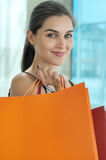 Portrait of the girl with bag Stock Image