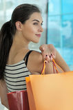 Portrait of the girl with bag Royalty Free Stock Image