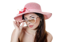 Portrait of the girl in a beach hat Royalty Free Stock Images