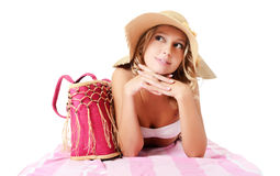 Portrait of girl in beach hat Stock Image