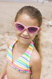 Portrait of girl on beach smiling Stock Photography