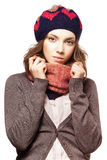 Portrait of girl in beret and scarf Stock Image