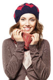 Portrait of girl in beret and scarf Royalty Free Stock Photography