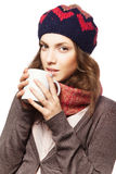 Portrait of girl in beret and scarf Royalty Free Stock Photo