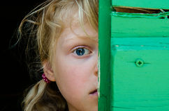 Portrait of girl with big blue eye. With hidden half of face Stock Image