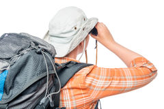 Portrait of a girl with binoculars, view from the back Stock Photography