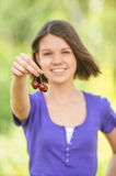 Portrait girl with black cherry Royalty Free Stock Image