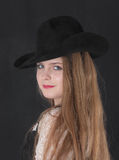 Girl in a black hat Royalty Free Stock Photos