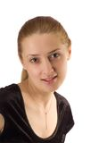 Portrait girl in black velure dress Stock Images